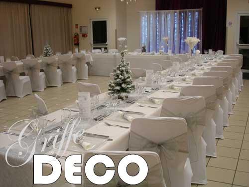 Deco mariage blanc et argent le mariage - Decoration salle mariage rouge et blanc ...