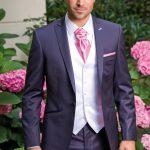 Costume mariage homme blanc et rose