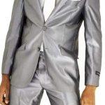 Costume homme gris satiné