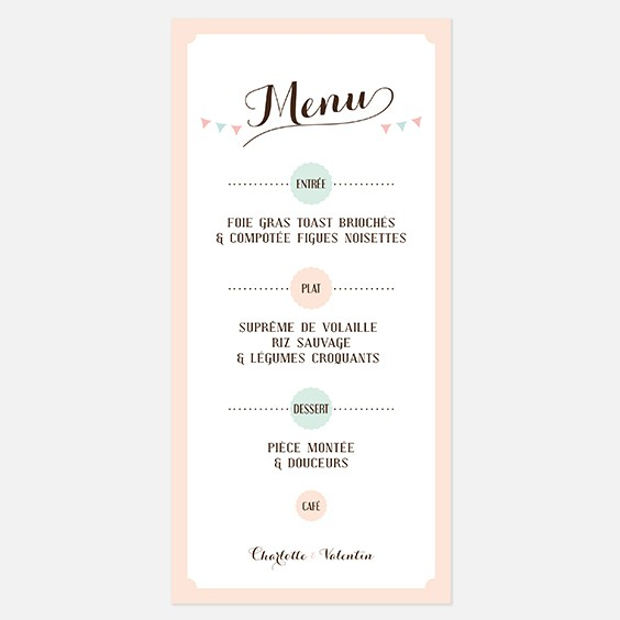Préférence Menu mariage - Le mariage AY68