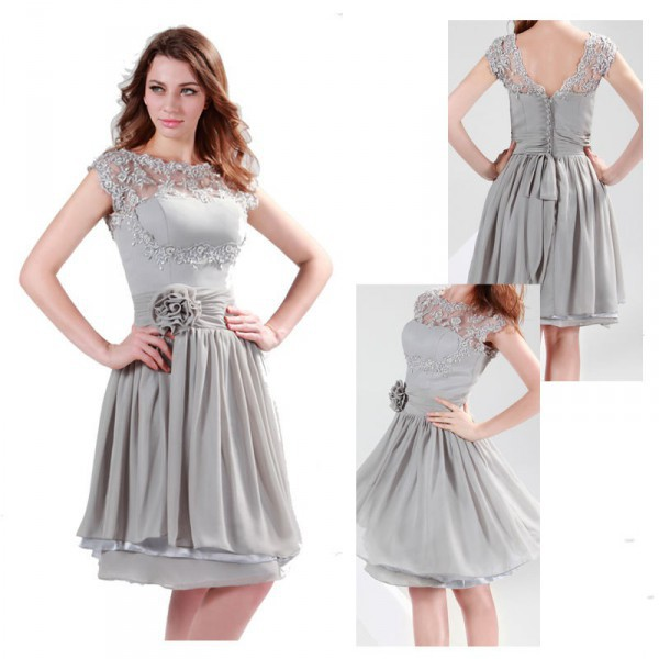 Robe cocktail courte grise