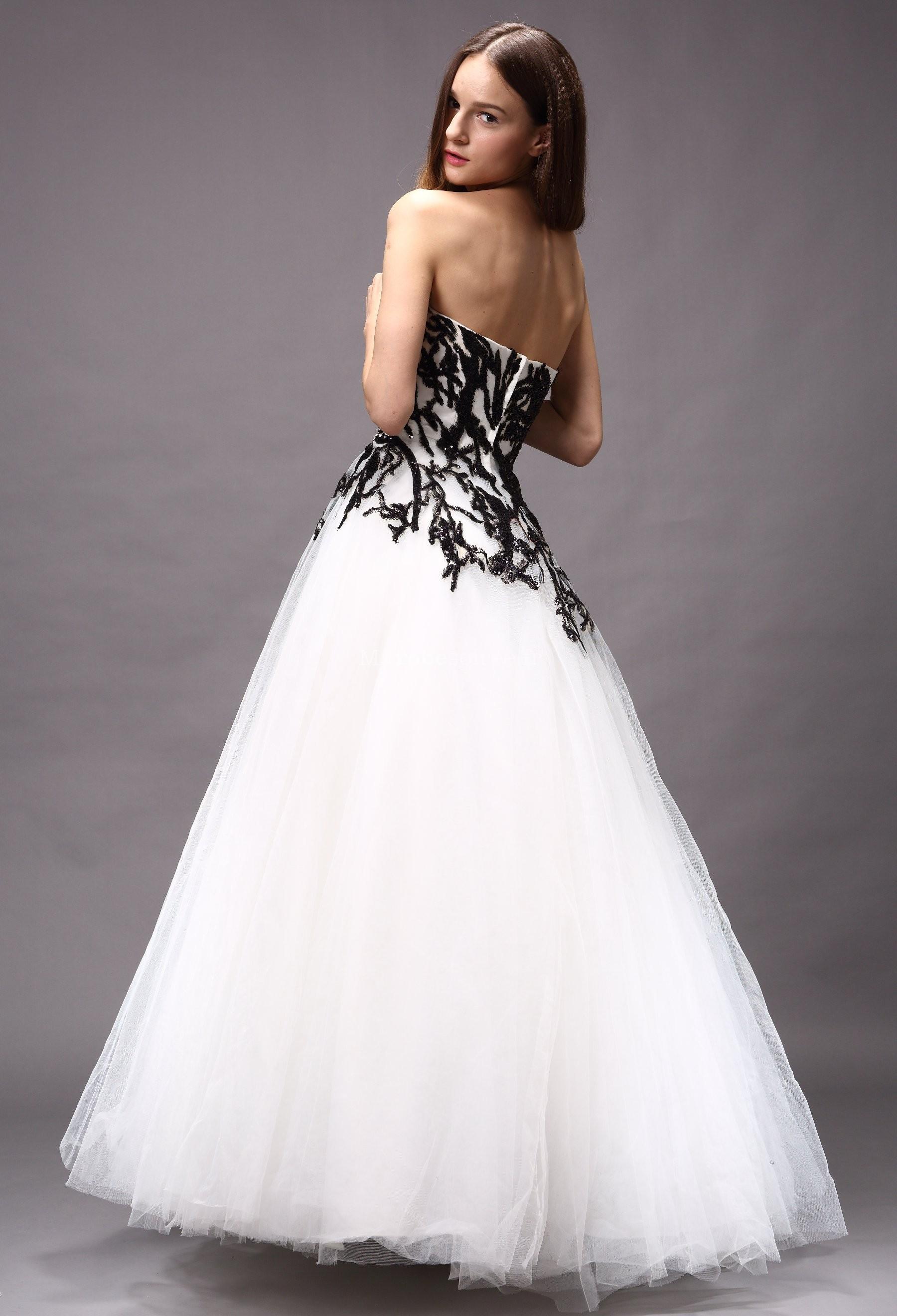 Robe de mariee noire blanche