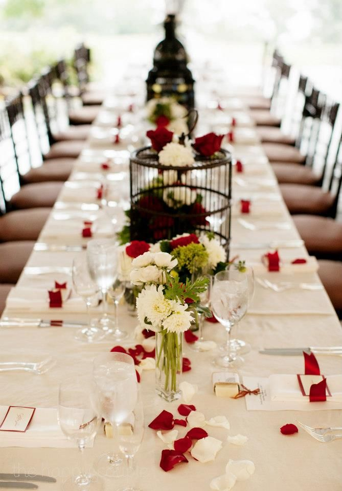 Decoration Table Rectangle Mariage Noir Blanc Rouge