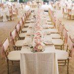 Deco table mariage rose et blanc