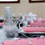 Decoration mariage rose blanc gris