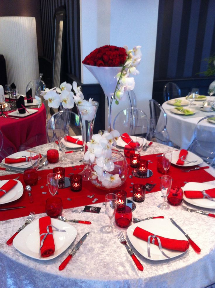 centre de table mariage rouge et blanc n un centre de. Black Bedroom Furniture Sets. Home Design Ideas