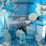 Decoration de mariage bleu turquoise et blanc