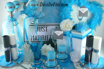 decoration de mariage bleu turquoise et blanc le mariage. Black Bedroom Furniture Sets. Home Design Ideas