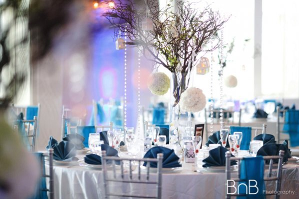 decoration table mariage bleu turquoise