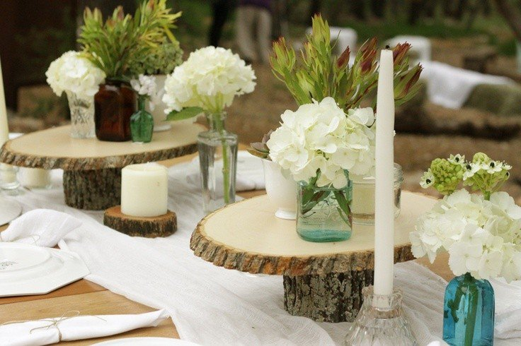 Mariage champetre decoration table for Deco de table avec du bois