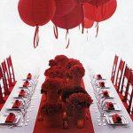 Décoration mariage rouge blanc doré