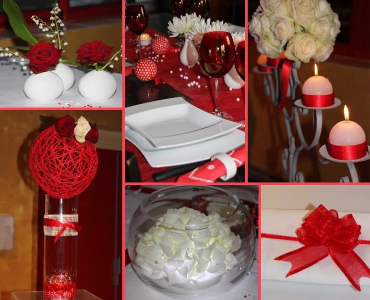 Mariage rouge et blanc chic - Decoration de mariage rouge et blanc ...