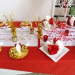 Deco mariage rouge blanc or