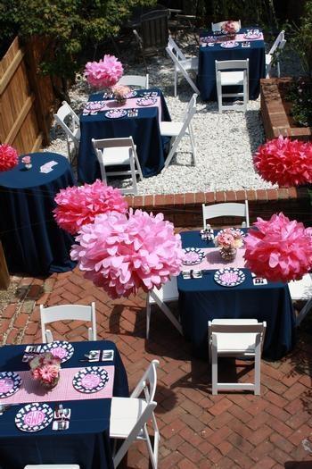 D coration mariage bleu marine et rose le mariage - Decoration de mariage feerique ...