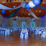 Deco salle mariage bleu et blanc